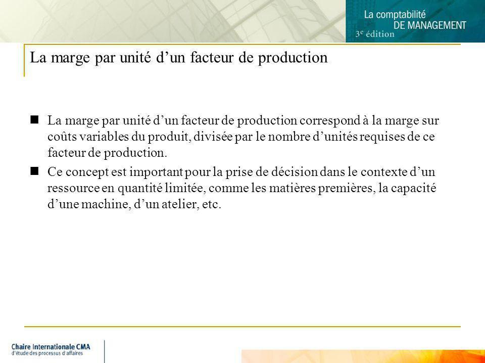 6 La marge par unité dun facteur de production La marge par unité dun facteur de production correspond à la marge sur coûts variables du produit, divi