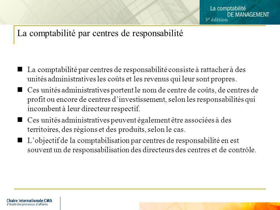 9 La comptabilité par centres de responsabilité La comptabilité par centres de responsabilité consiste à rattacher à des unités administratives les co