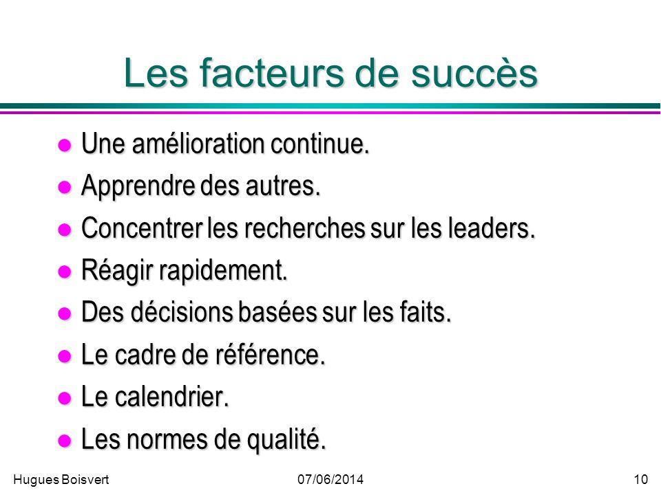 Hugues Boisvert07/06/2014 9 Les facteurs de succès Lengagement de la direction. Lengagement de la direction. Une équipe compétente. Une équipe compéte