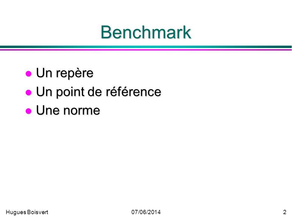 Hugues Boisvert07/06/2014 1 Le Benchmarking Hugues Boisvert