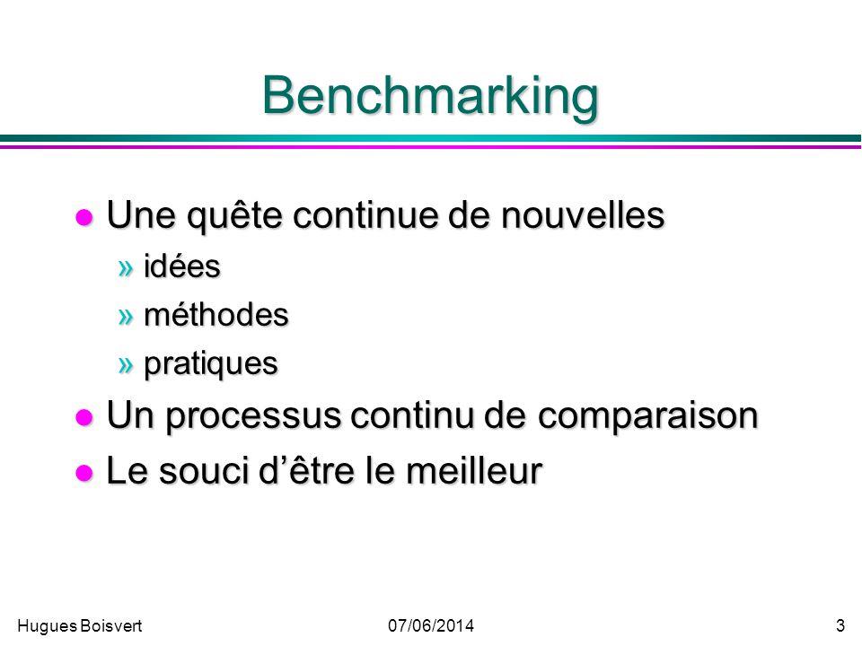 Hugues Boisvert07/06/2014 13 Les coûts du benchmarking La formation, la recherche, la collecte et lanalyse des données.