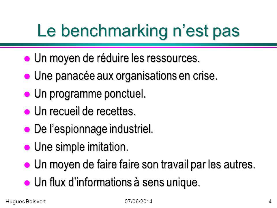 Hugues Boisvert07/06/2014 3 Benchmarking Une quête continue de nouvelles Une quête continue de nouvelles »idées »méthodes »pratiques Un processus cont