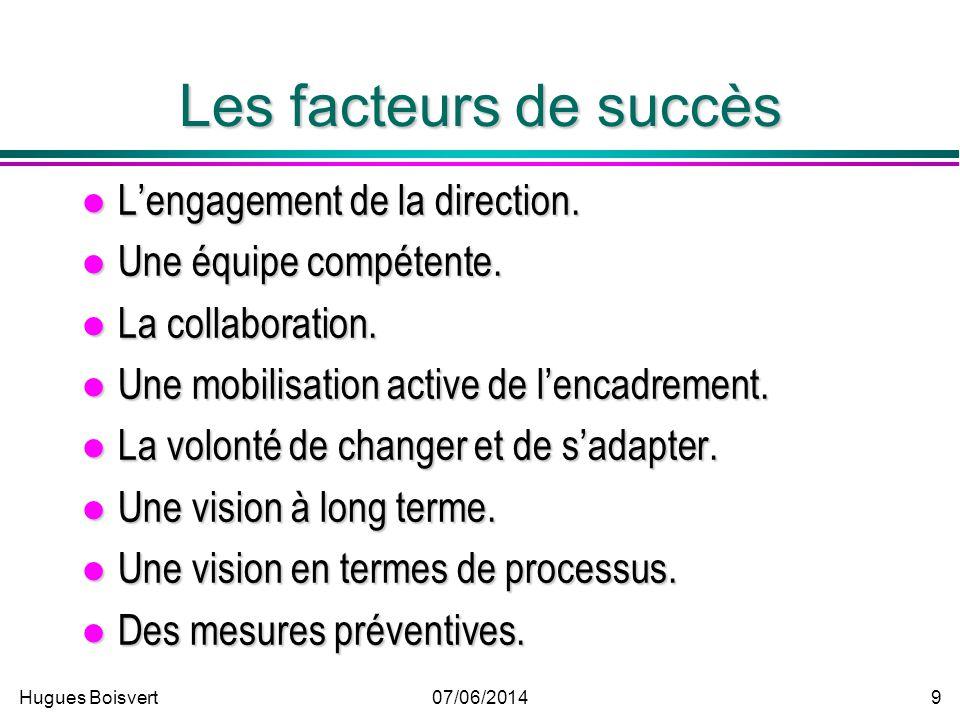 Hugues Boisvert07/06/2014 9 Les facteurs de succès Lengagement de la direction.