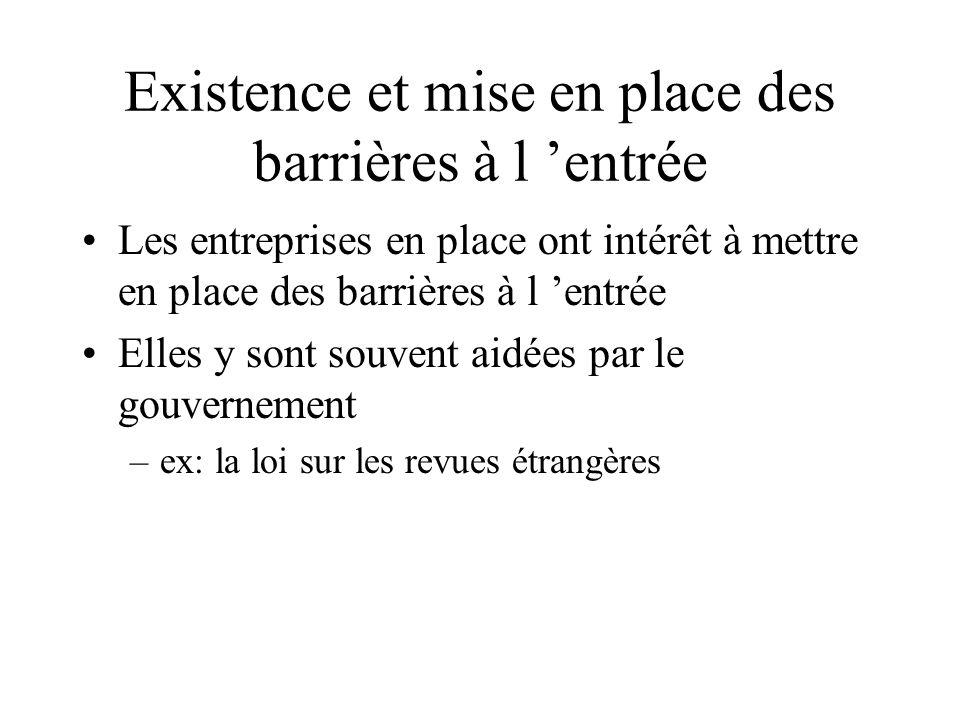Existence et mise en place des barrières à l entrée Les entreprises en place ont intérêt à mettre en place des barrières à l entrée Elles y sont souve