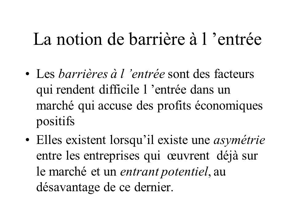 La notion de barrière à l entrée Les barrières à l entrée sont des facteurs qui rendent difficile l entrée dans un marché qui accuse des profits écono