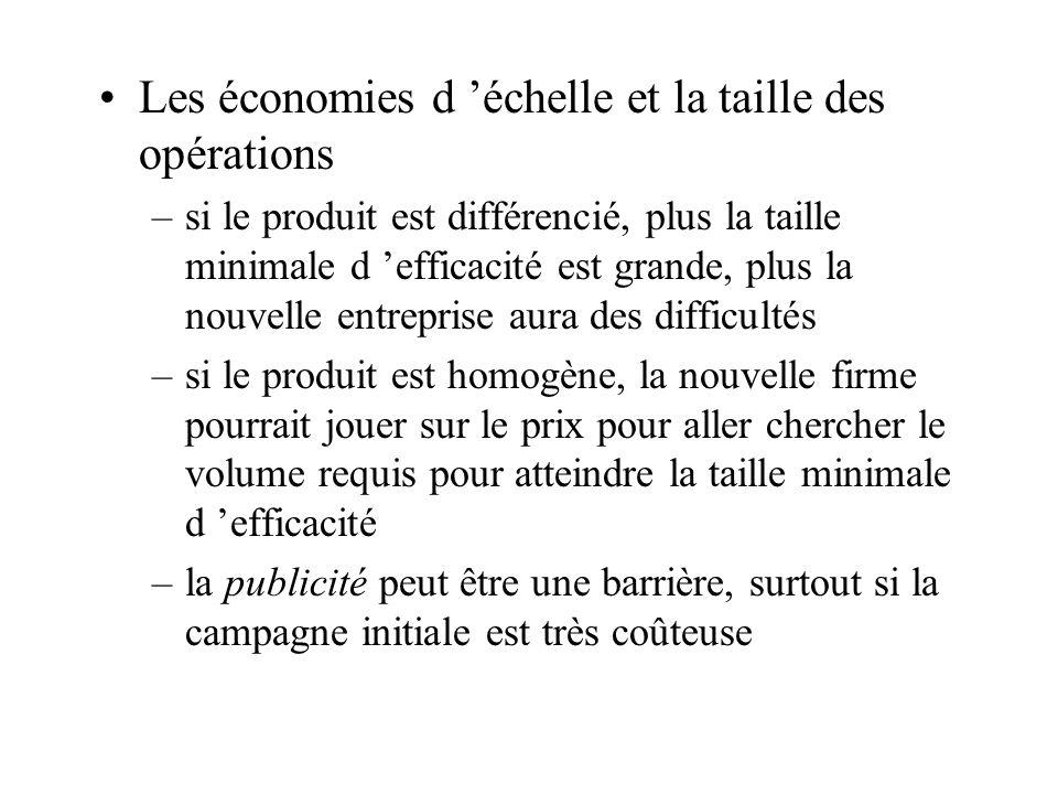 Les économies d échelle et la taille des opérations –si le produit est différencié, plus la taille minimale d efficacité est grande, plus la nouvelle