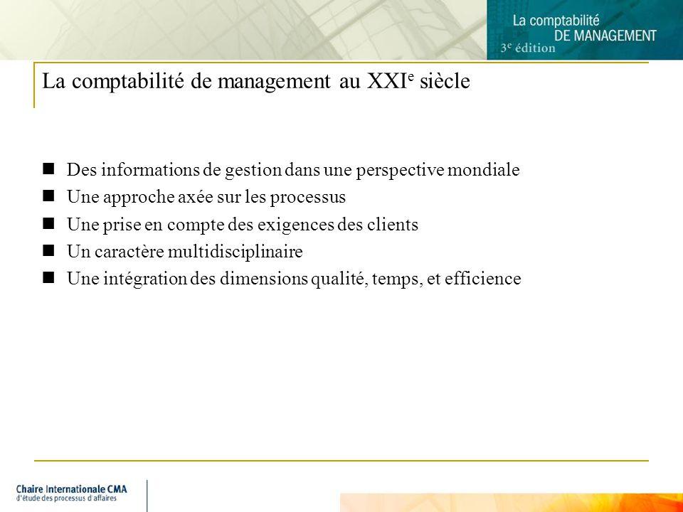 6 La comptabilité de management au XXI e siècle Des informations de gestion dans une perspective mondiale Une approche axée sur les processus Une prise en compte des exigences des clients Un caractère multidisciplinaire Une intégration des dimensions qualité, temps, et efficience