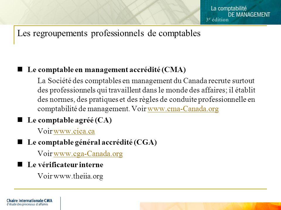 8 Les regroupements professionnels de comptables Le comptable en management accrédité (CMA) La Société des comptables en management du Canada recrute surtout des professionnels qui travaillent dans le monde des affaires; il établit des normes, des pratiques et des règles de conduite professionnelle en comptabilité de management.