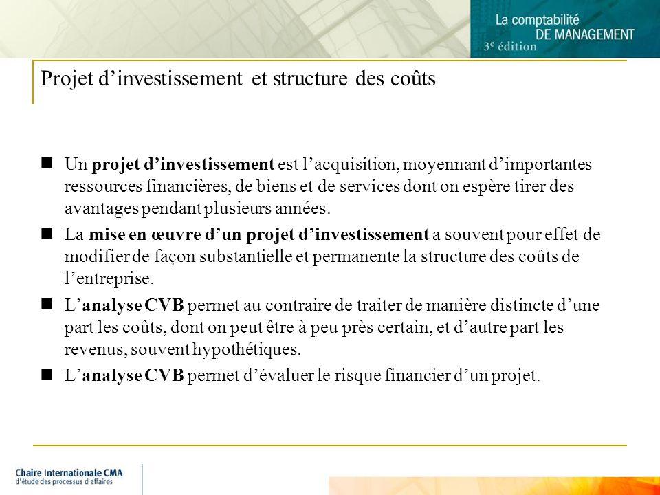 6 Projet dinvestissement et structure des coûts Un projet dinvestissement est lacquisition, moyennant dimportantes ressources financières, de biens et