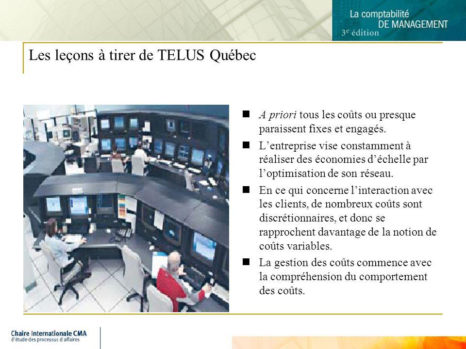 11 Les leçons à tirer de TELUS Québec A priori tous les coûts ou presque paraissent fixes et engagés. Lentreprise vise constamment à réaliser des écon