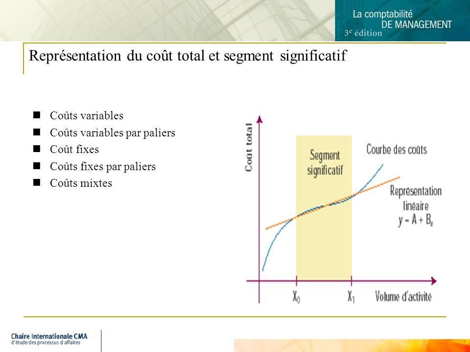 3 Représentation du coût total et segment significatif Coûts variables Coûts variables par paliers Coût fixes Coûts fixes par paliers Coûts mixtes