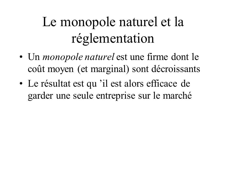 Le monopole naturel et la réglementation Un monopole naturel est une firme dont le coût moyen (et marginal) sont décroissants Le résultat est qu il es