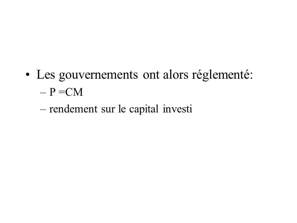 Les gouvernements ont alors réglementé: –P =CM –rendement sur le capital investi
