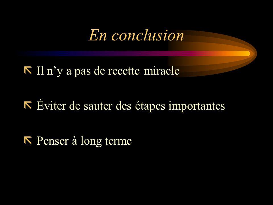 En conclusion ã Il ny a pas de recette miracle ã Éviter de sauter des étapes importantes ã Penser à long terme