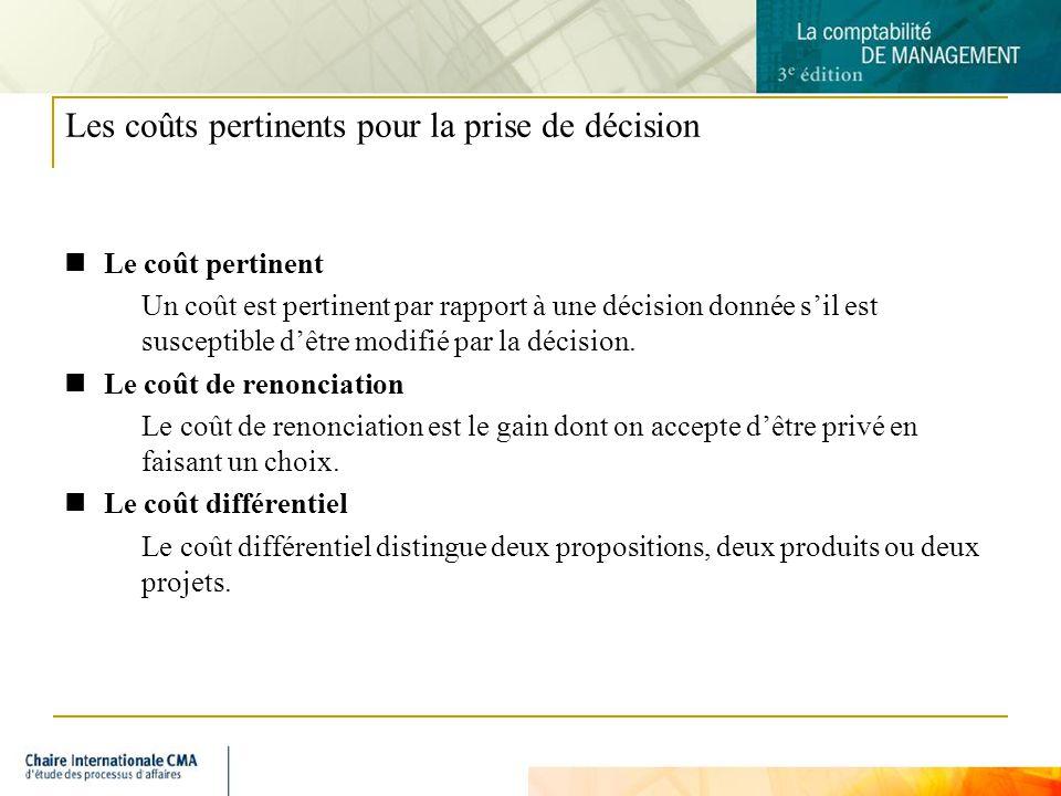 7 Les coûts pertinents pour la prise de décision Le coût pertinent Un coût est pertinent par rapport à une décision donnée sil est susceptible dêtre m