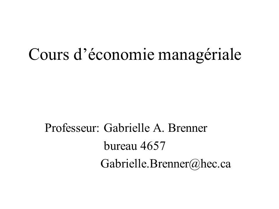 Cours déconomie managériale Professeur: Gabrielle A. Brenner bureau 4657 Gabrielle.Brenner@hec.ca
