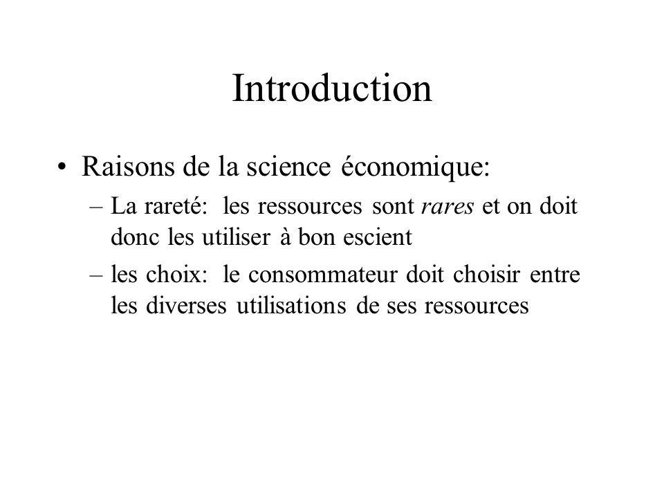 Introduction Raisons de la science économique: –La rareté: les ressources sont rares et on doit donc les utiliser à bon escient –les choix: le consomm