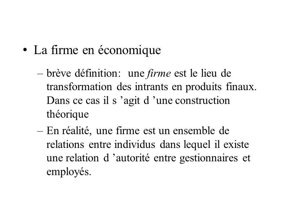 La firme en économique –brève définition: une firme est le lieu de transformation des intrants en produits finaux. Dans ce cas il s agit d une constru