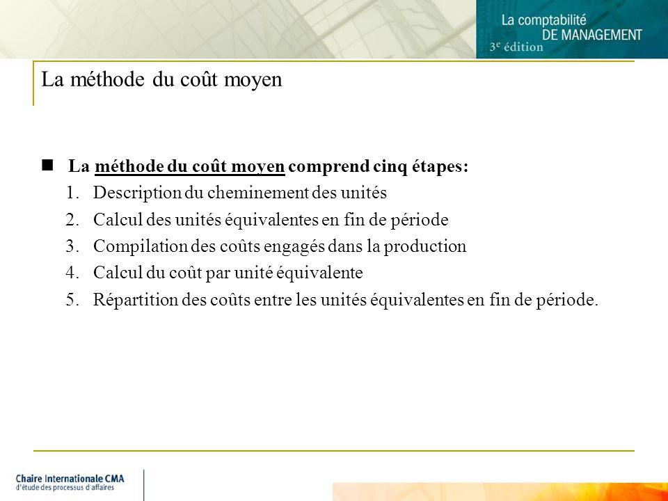 6 La méthode du coût moyen La méthode du coût moyen comprend cinq étapes: 1.Description du cheminement des unités 2.Calcul des unités équivalentes en