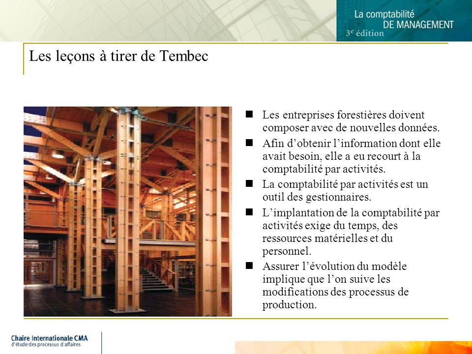 10 Les leçons à tirer de Tembec Les entreprises forestières doivent composer avec de nouvelles données. Afin dobtenir linformation dont elle avait bes