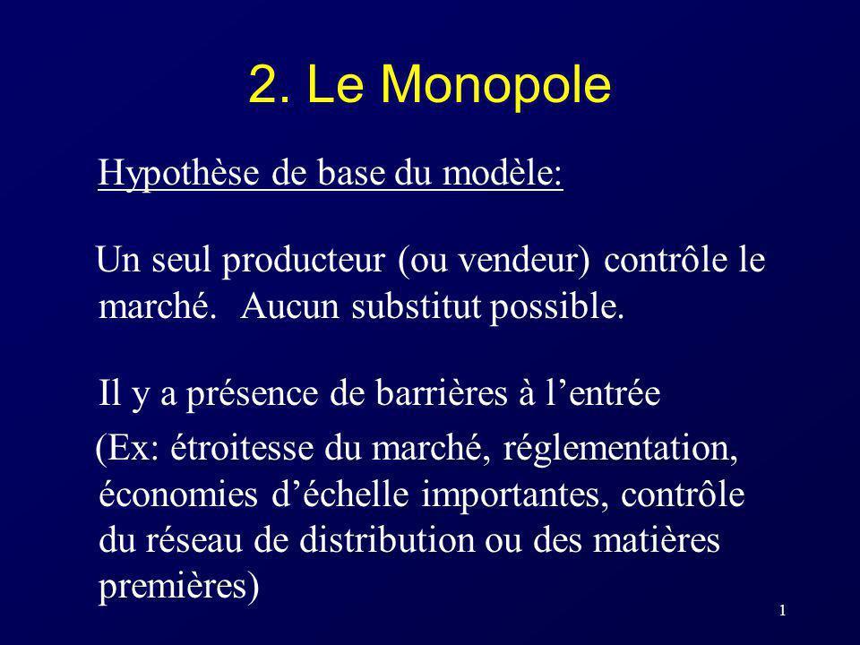 1 2. Le Monopole Hypothèse de base du modèle: Un seul producteur (ou vendeur) contrôle le marché. Aucun substitut possible. Il y a présence de barrièr