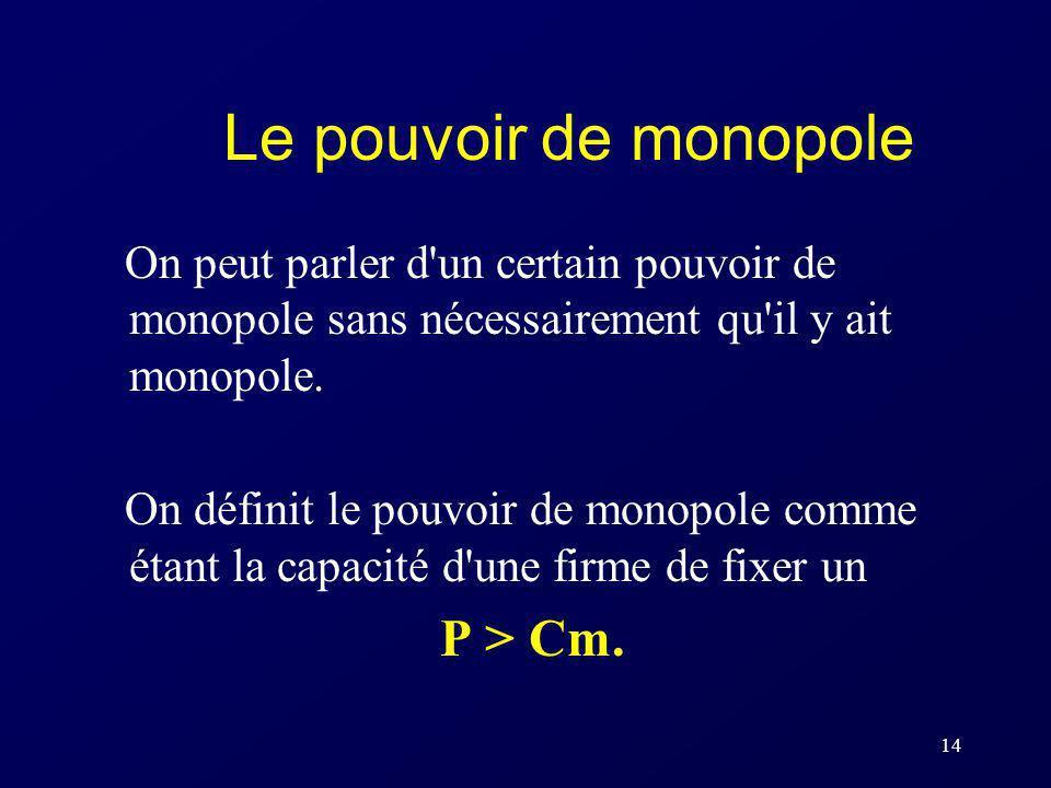 14 Le pouvoir de monopole On peut parler d'un certain pouvoir de monopole sans nécessairement qu'il y ait monopole. On définit le pouvoir de monopole