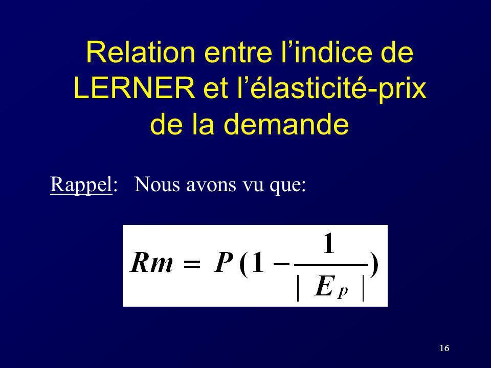 16 Relation entre lindice de LERNER et lélasticité-prix de la demande Rappel: Nous avons vu que: