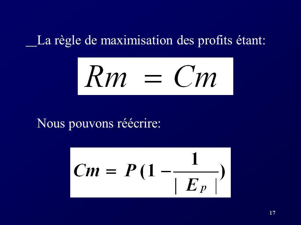17 La règle de maximisation des profits étant: Nous pouvons réécrire: