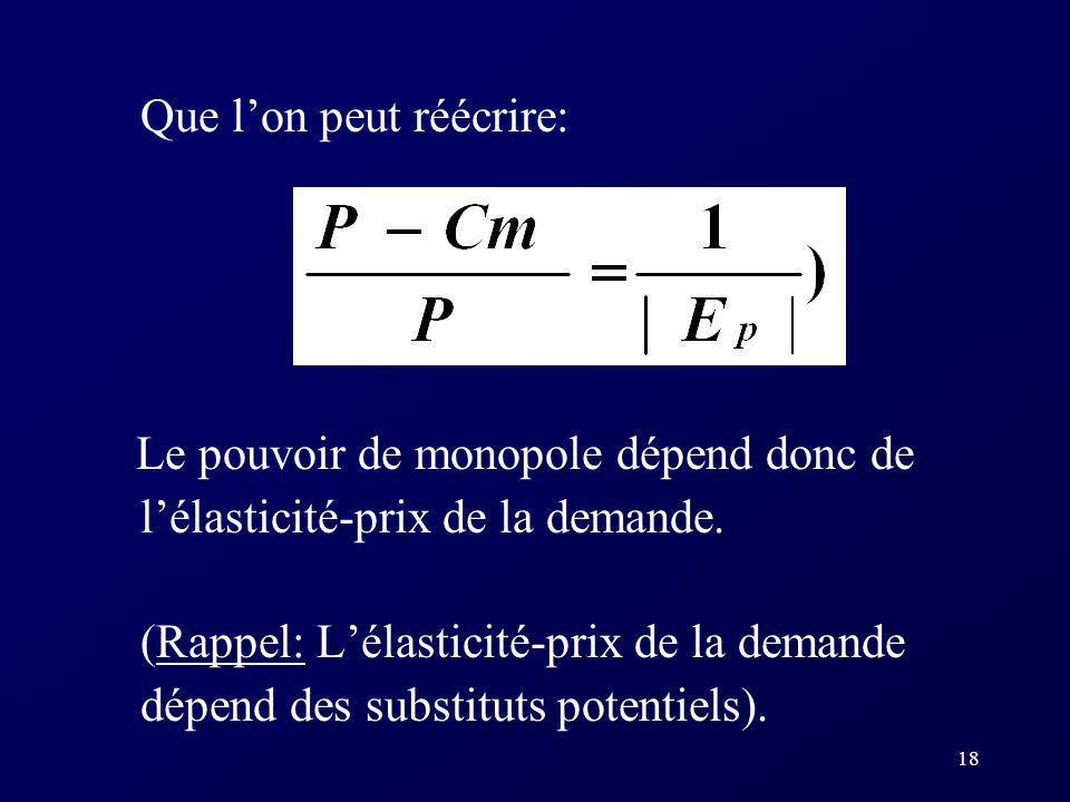 18 Que lon peut réécrire: Le pouvoir de monopole dépend donc de lélasticité-prix de la demande. (Rappel: Lélasticité-prix de la demande dépend des sub