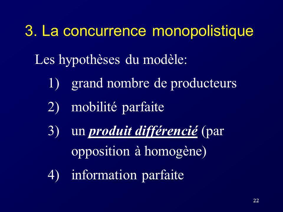 22 3. La concurrence monopolistique Les hypothèses du modèle: 1)grand nombre de producteurs 2)mobilité parfaite 3)un produit différencié (par oppositi