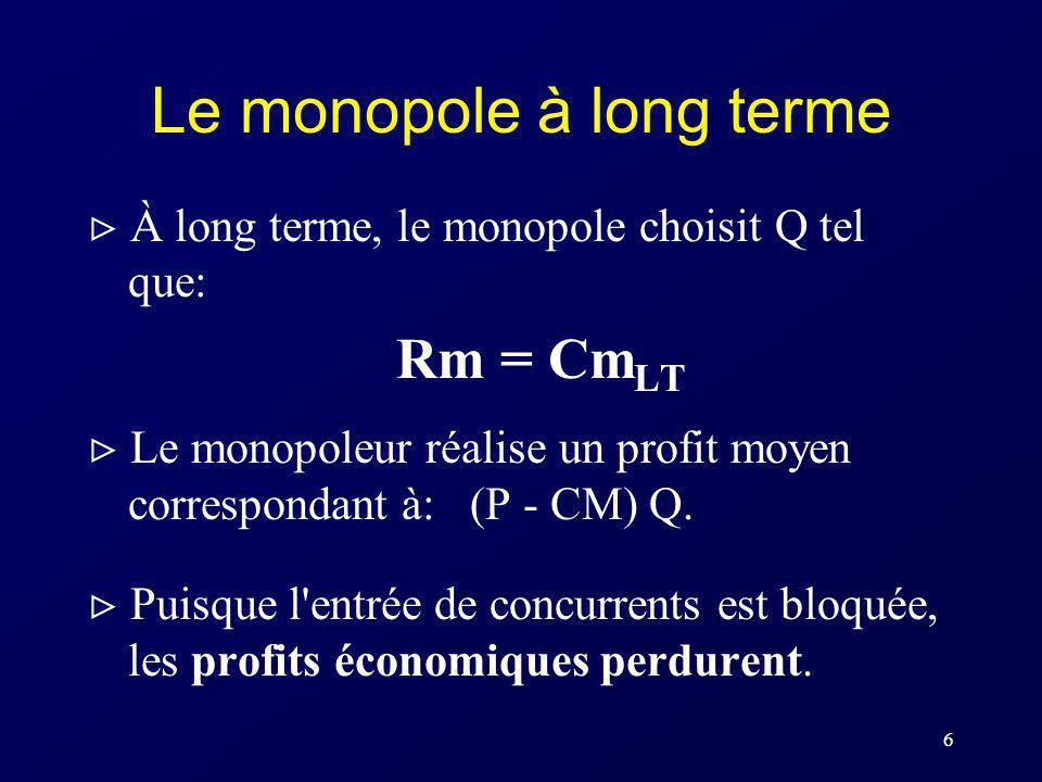 6 Le monopole à long terme À long terme, le monopole choisit Q tel que: Rm = Cm LT Le monopoleur réalise un profit moyen correspondant à: (P - CM) Q.