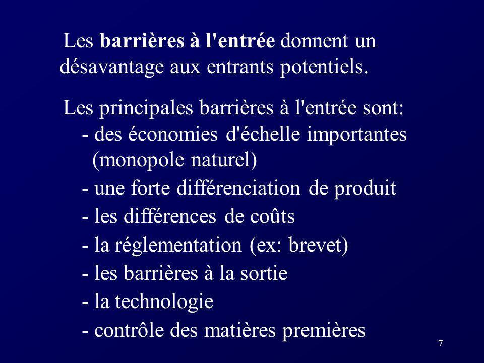 7 Les barrières à l'entrée donnent un désavantage aux entrants potentiels. Les principales barrières à l'entrée sont: - des économies d'échelle import