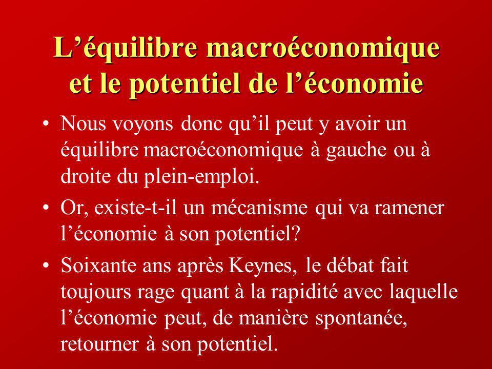 Léquilibre macroéconomique et le potentiel de léconomie Nous voyons donc quil peut y avoir un équilibre macroéconomique à gauche ou à droite du plein-