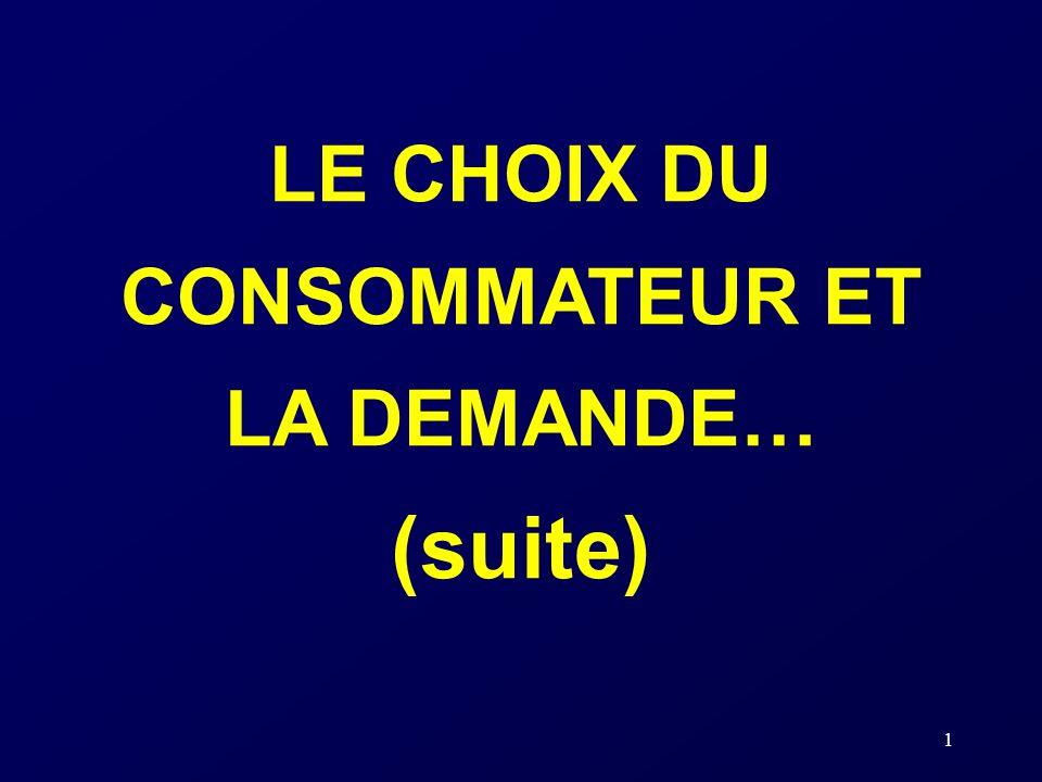 1 LE CHOIX DU CONSOMMATEUR ET LA DEMANDE… (suite)