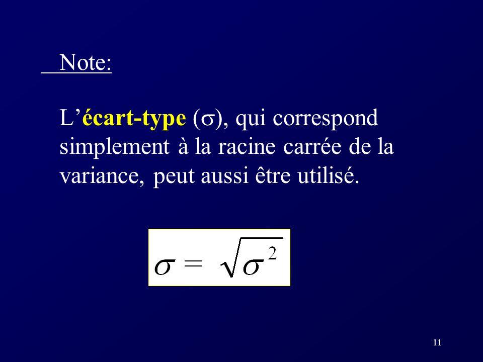 11 Note: Lécart-type ( ), qui correspond simplement à la racine carrée de la variance, peut aussi être utilisé.