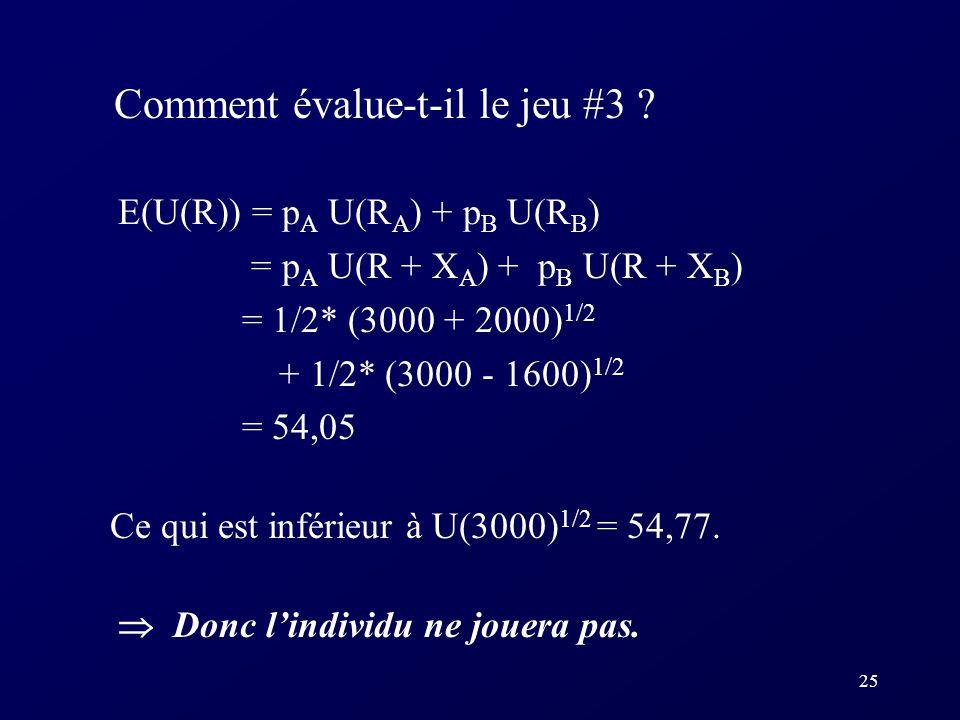 25 Comment évalue-t-il le jeu #3 ? E(U(R)) = p A U(R A ) + p B U(R B ) = p A U(R + X A ) + p B U(R + X B ) = 1/2* (3000 + 2000) 1/2 + 1/2* (3000 - 160