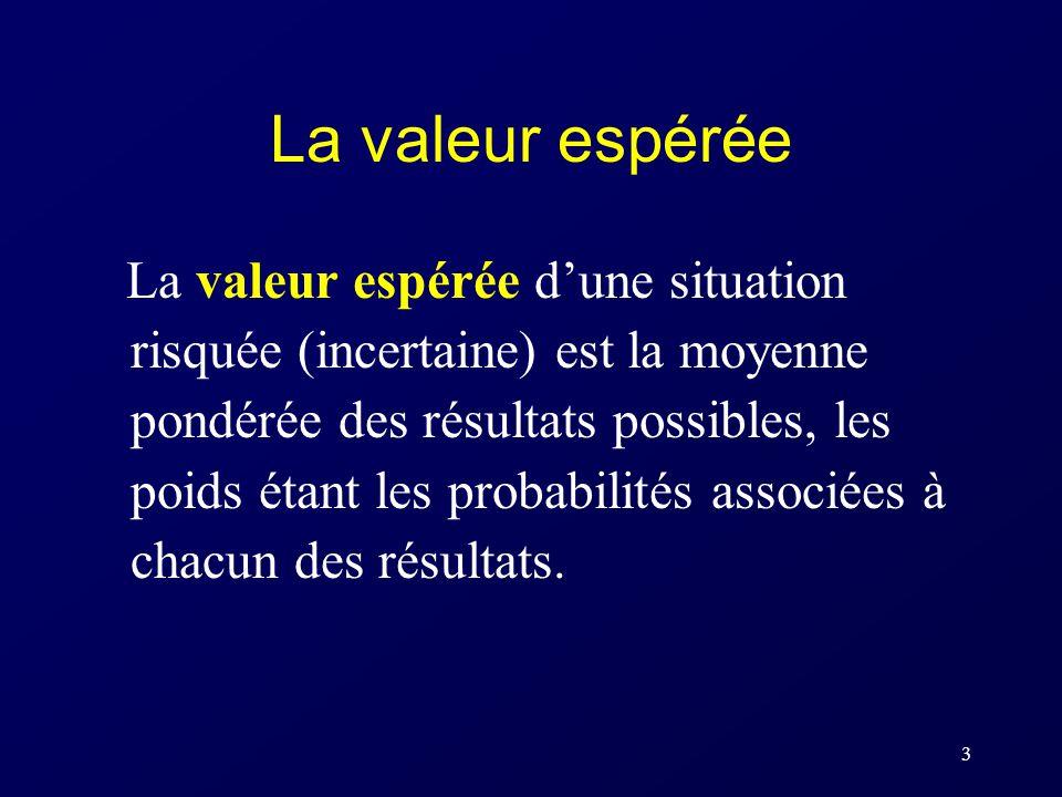 3 La valeur espérée La valeur espérée dune situation risquée (incertaine) est la moyenne pondérée des résultats possibles, les poids étant les probabilités associées à chacun des résultats.
