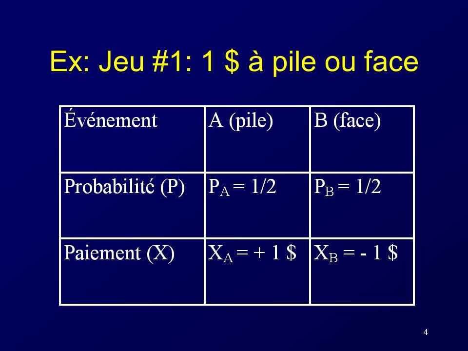 4 Ex: Jeu #1: 1 $ à pile ou face