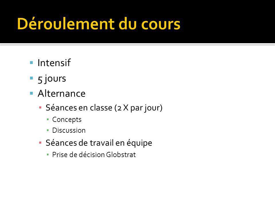 Intensif 5 jours Alternance Séances en classe (2 X par jour) Concepts Discussion Séances de travail en équipe Prise de décision Globstrat