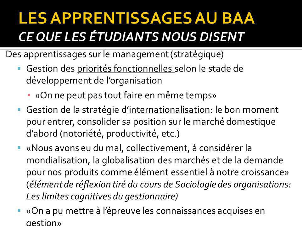 Des apprentissages sur le management (stratégique) Gestion des priorités fonctionnelles selon le stade de développement de lorganisation «On ne peut p