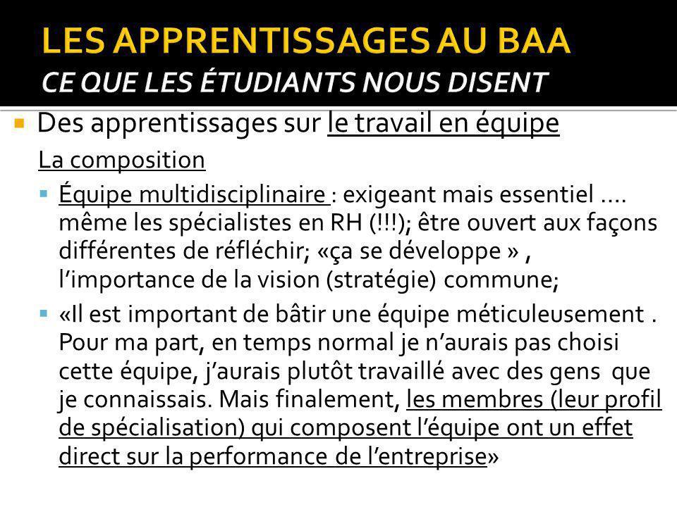 Des apprentissages sur le travail en équipe La composition Équipe multidisciplinaire : exigeant mais essentiel …. même les spécialistes en RH (!!!); ê