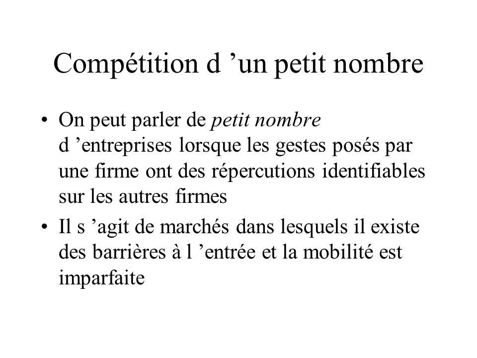 Compétition d un petit nombre On peut parler de petit nombre d entreprises lorsque les gestes posés par une firme ont des répercutions identifiables s