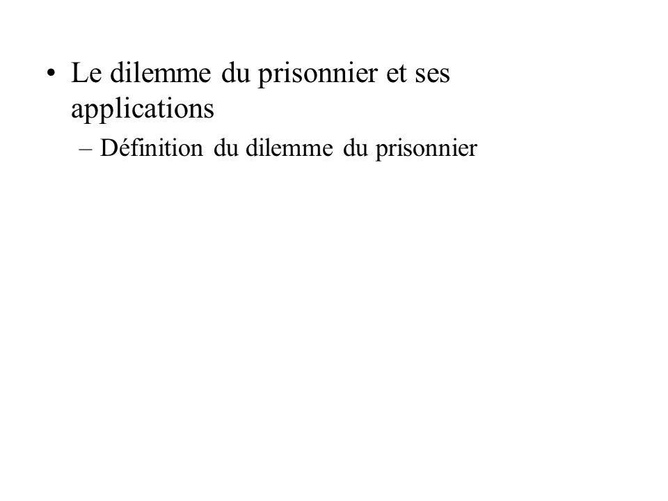 Le dilemme du prisonnier et ses applications –Définition du dilemme du prisonnier