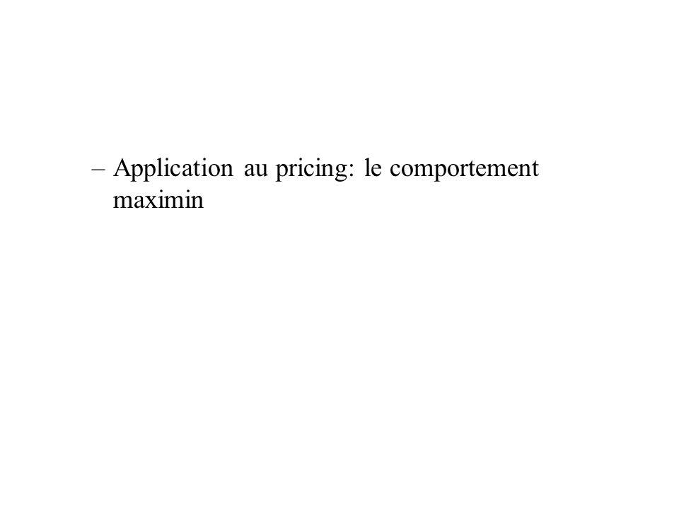 –Application au pricing: le comportement maximin