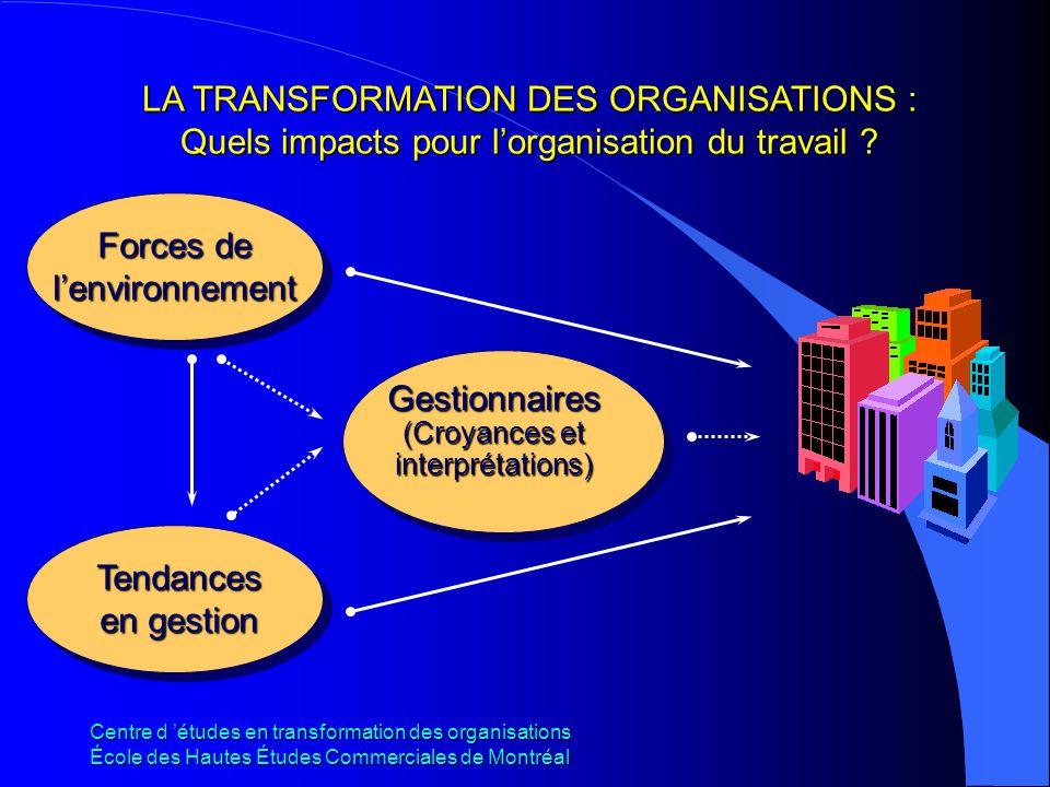 Centre d études en transformation des organisations École des Hautes Études Commerciales de Montréal LA TRANSFORMATION DES ORGANISATIONS : Quels impac