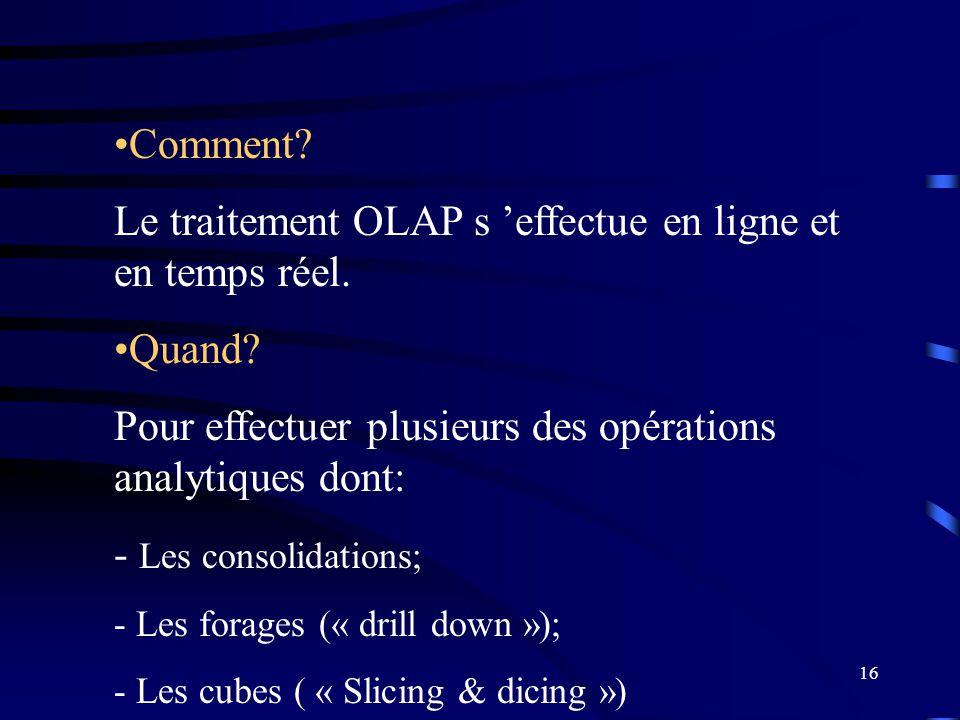 16 Comment? Le traitement OLAP s effectue en ligne et en temps réel. Quand? Pour effectuer plusieurs des opérations analytiques dont: - Les consolidat