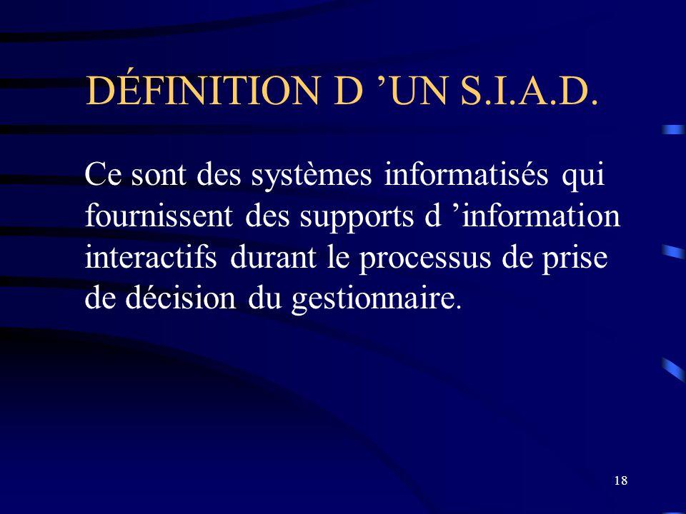 18 DÉFINITION D UN S.I.A.D. Ce sont des systèmes informatisés qui fournissent des supports d information interactifs durant le processus de prise de d