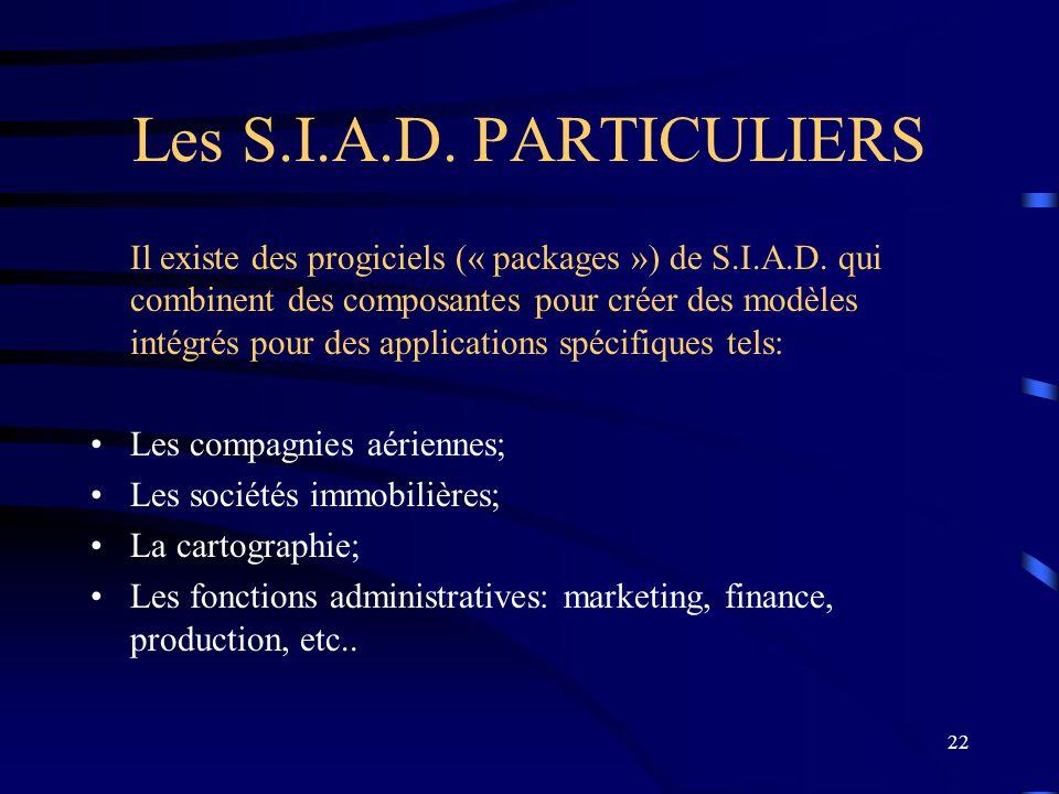 22 Les S.I.A.D. PARTICULIERS Il existe des progiciels (« packages ») de S.I.A.D. qui combinent des composantes pour créer des modèles intégrés pour de