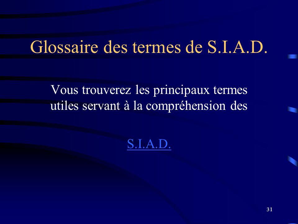 31 Glossaire des termes de S.I.A.D. Vous trouverez les principaux termes utiles servant à la compréhension des S.I.A.D.
