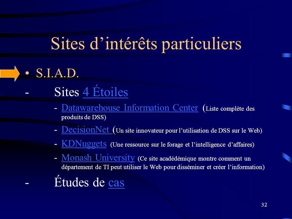 32 Sites dintérêts particuliers S.I.A.D. -Sites 4 Étoiles4 Étoiles -Datawarehouse Information Center ( Liste complète des produits de DSS)Datawarehous